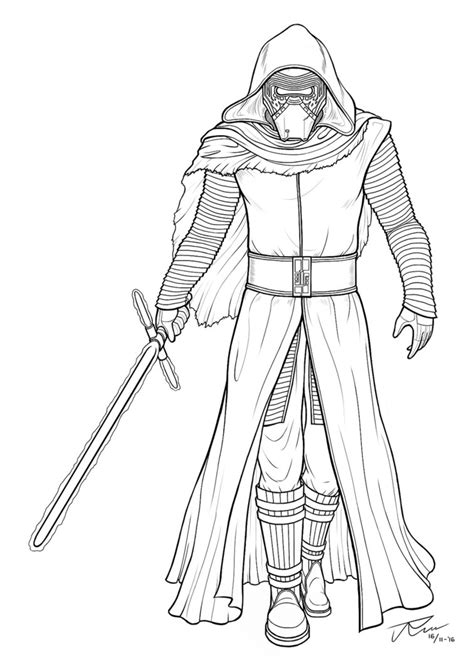 coloring pages kylo ren kylo ren lineart by rousanilmy on deviantart