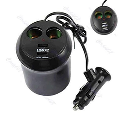 1pc car auto cigarette lighter dual usb charger socket cup