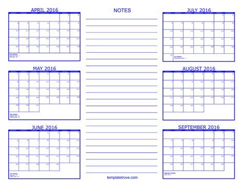 6 month calendar 2016