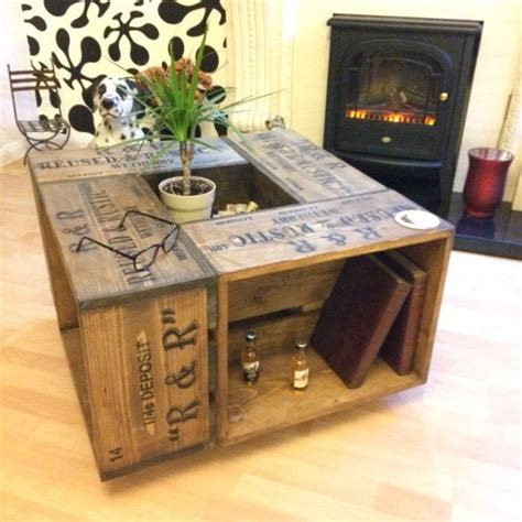 Crate Style Coffee Table Rustic Crate Coffee Table On Wheel Casters Farmhouse Style Crates Farmhouse Style And Woods