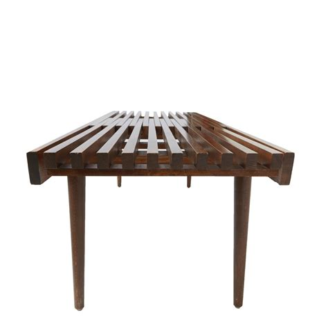 bench on sale slatted wood bench in the style of george nelson for