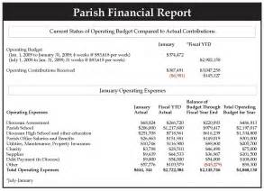 Samples Of Financial Reports Eric Mcardle Monthly Financial Reports Catholic