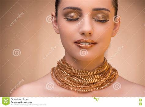 elegant mature woman wearing silver jewelry stock photo the nice woman wearing elegant jewellery royalty free