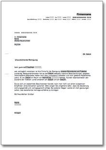 Anschreiben Adrebe Ansprechpartner Beanstandung An Eine Reinigungsfirma De Musterbrief