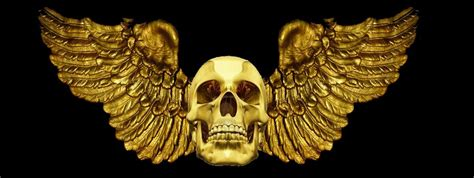 Gold Skull Wallpaper by Gold Skull With Wings By 26siya On Deviantart