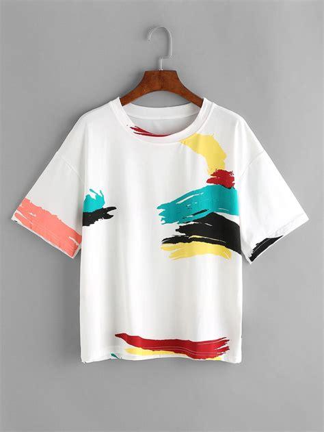 white graffiti print t shirt shein sheinside