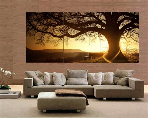 home interiors cuadros 30x40cm frameless 3 panel modern printed tree painting picture cuadros sunset canvas painting