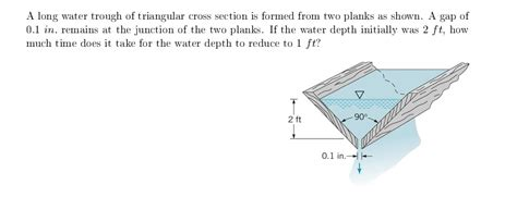 triangular cross section a long water trough of triangular cross section is