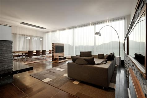 Modern Living Room Brown Sleek House Any In Austria By Spado Architects