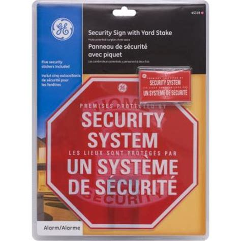 ge security yard stake sign with security window stickers