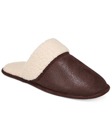 club room slippers club room s slippers steiger brown sherpa scuff
