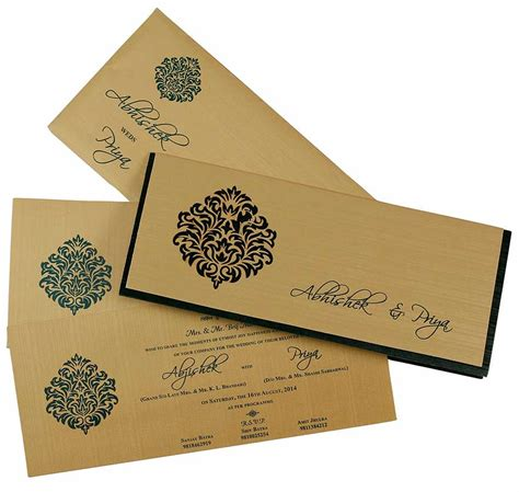Wedding Card To by Indian Wedding Card In Green And Golden With Cutout