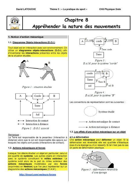 diagramme objet interaction 3eme calam 233 o chapitre 8 appr 233 hender la nature des mouvements