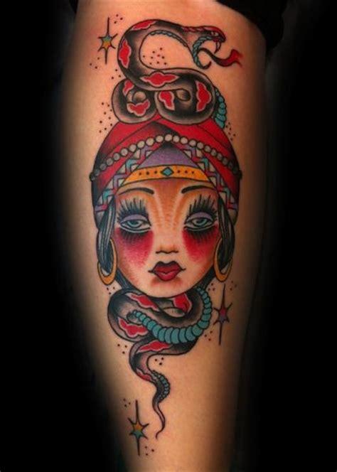 new school gypsy tattoo new school snake leg gypsy tattoo by three kings tattoo