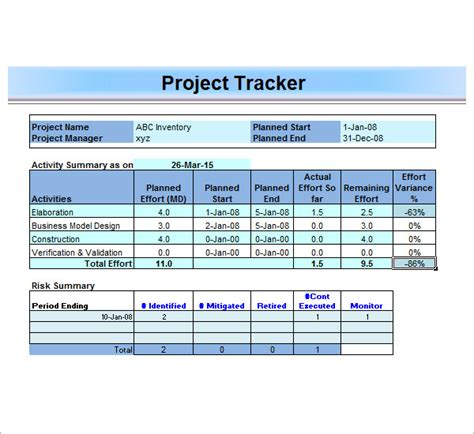 excel template project management project management template 12 free documents