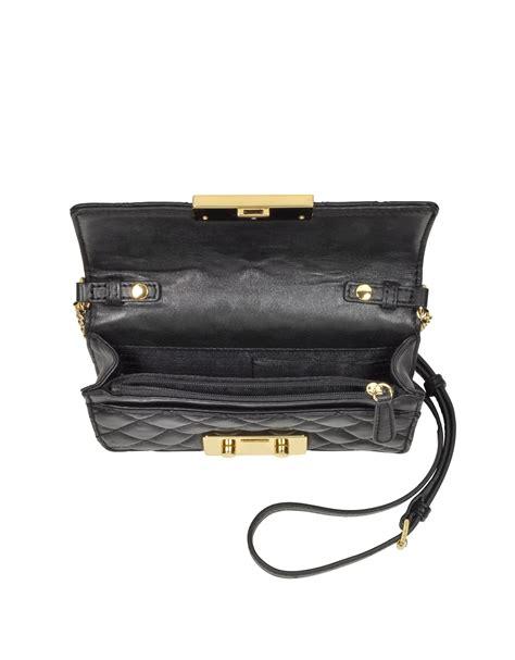 Michael Kors Sloan Large Black Velvet lyst michael kors sloan black quilted leather chain
