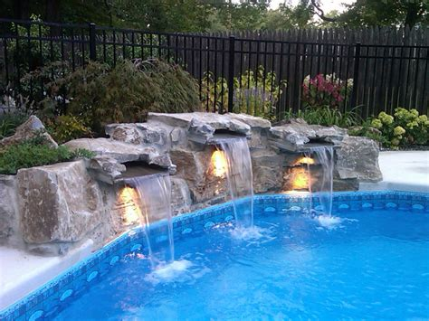 pool waterfalls waterfalls for pools inground round designs