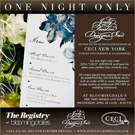 bloomingdales nyc wedding invitations this and that giveaways sales special invites more