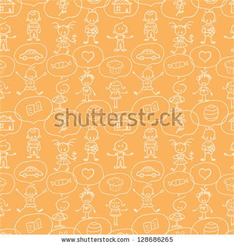 thought pattern en francais children thinking seamless pattern background stock vector