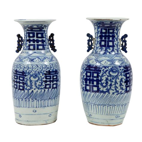 pair of 19th century blue and white porcelain