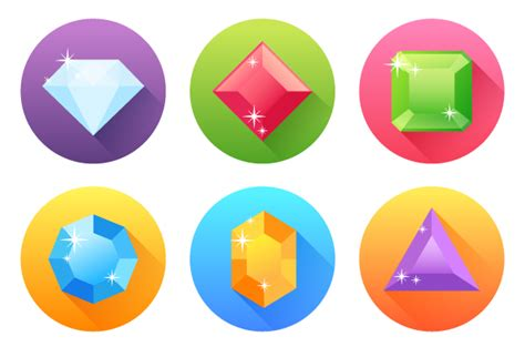design icons in illustrator create a set of flat precious gems icons in adobe