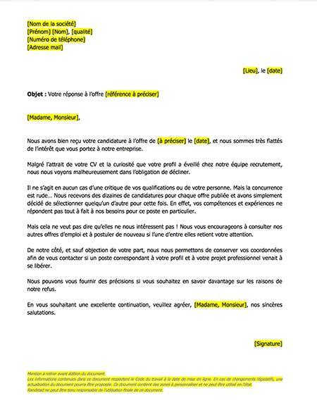 Mod Le De Lettre De Refus De Demande D Emploi Mod 232 Le De Lettres Refus Candidature Le Mag Rh Le Mag Rh