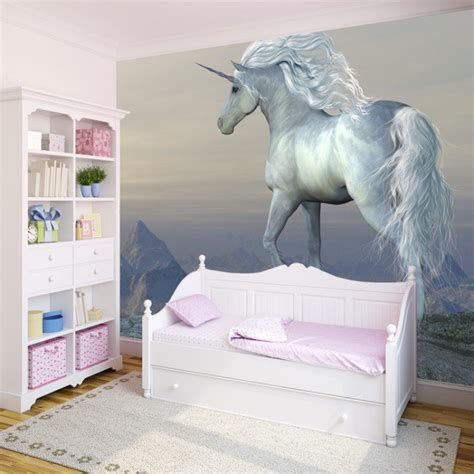 murals for girls bedroom beautiful white unicorn wall mural fairytale photo