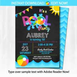 pool invitation swimming pool birthday pool edit at home now with