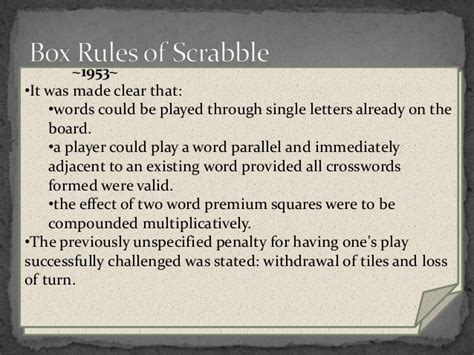 rule of scrabble some scrabble things