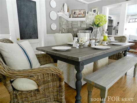 gray stained dining table our new farmhouse dining table rooms for rent