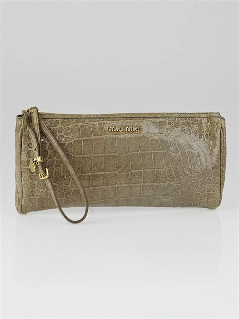 Miu Miu Ruched Patent Wristlet by Miu Miu Grey Crocodile Embossed Patent Leather St Cocco