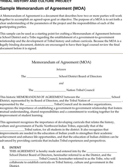 Memorandum Of Agreement Sle Letter Memorandum Of Agreement Template For Excel Pdf And Word