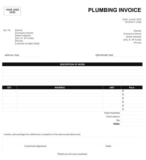 plumbers invoice template plumbing quotes like success