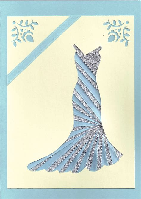 Iris Paper Folding - ribbon iris fold card dress in silver and blue