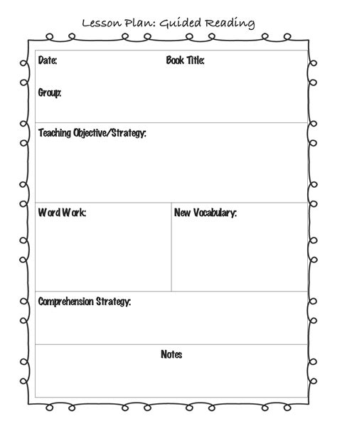 templates for lesson plan books guided reading lesson plan template for the classroom