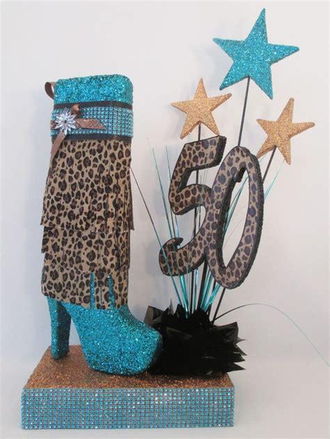 high heel boot leopard centerpiece birthday