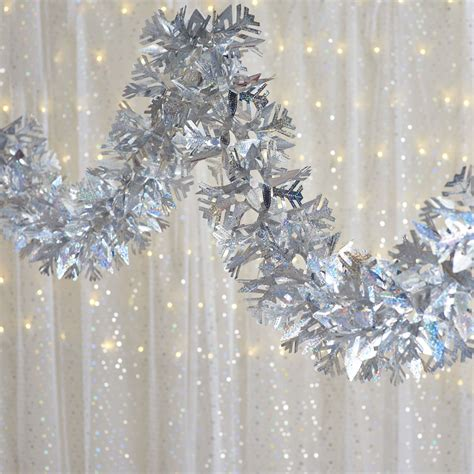 wilko christmas luxury foil garland silver holographic 2