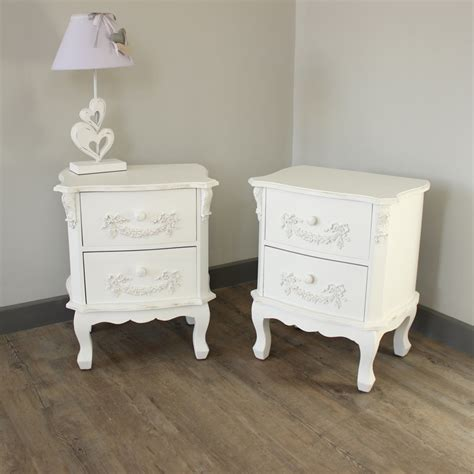 pair white ornate bedside tables cabinets home