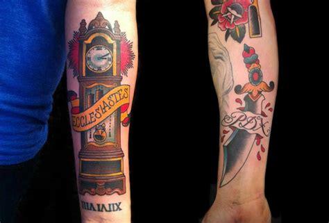tattoo old school clock tatuaje reloj old school daga por artwork rebels