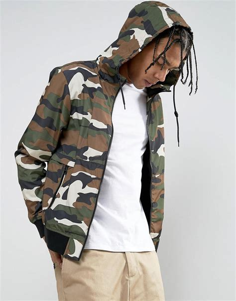 Hooded Camo Bomber Jacket lyst bershka hooded bomber jacket in camo for