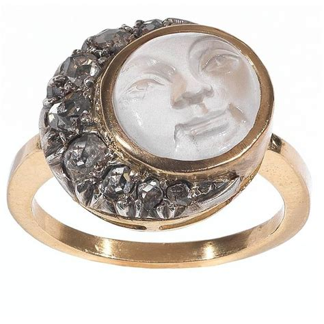antique carved moonstone gold in the moon ring