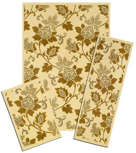 Area Rug And Runner Set Traditional Accent Mat Runner Area Rug 3 Set Floral Border Carpet Ebay