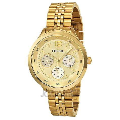 Fossil Glitz Es3227 Gold wrist watches fossil watches gold tone