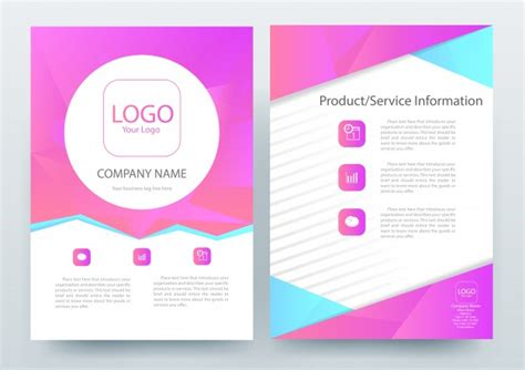 a4 brochure layout template with magenta polygon vector