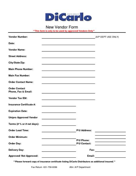 vendor forms template best photos of new vendor request form template vendor