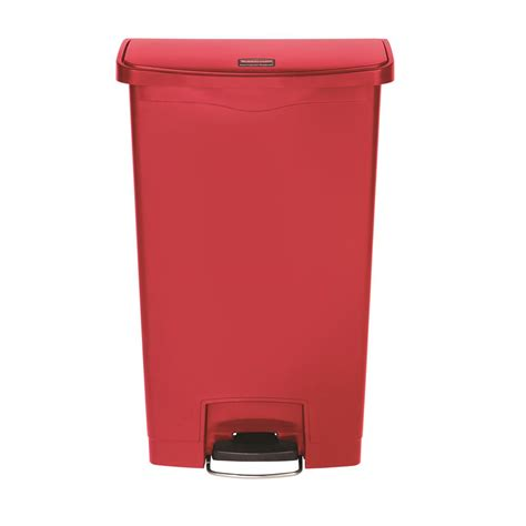 slim jim trash can rubbermaid commercial products slim jim step on 18 gal plastic end step trash can