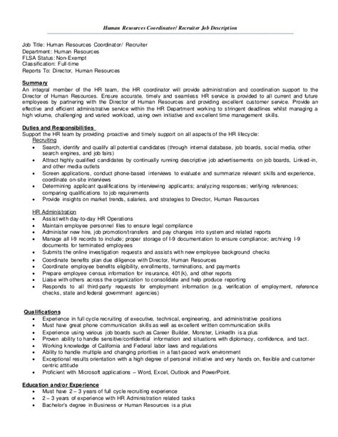 hr coordinator description human resources description resume human resources