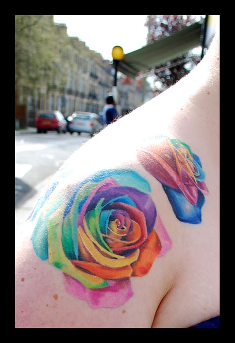 colorful rose tattoos 11 amazing rainbow tattoos