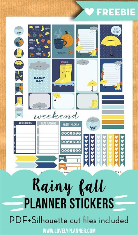 free printable planner supplies free printable rainy fall weekly kit stickers for your