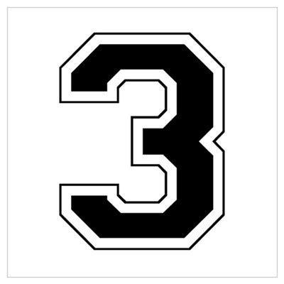 number 3 typography varsity font number 3 black poster